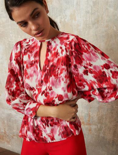 Shirt 2019 Spring and Three-Quarter Sleeve Natural Silk Shirt Lady Shirt,Sky Blue,L