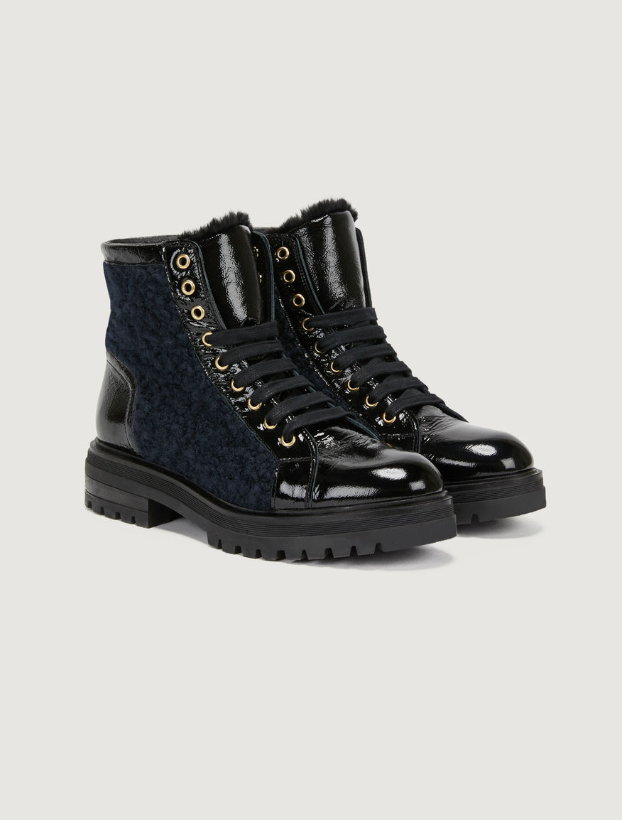 Patent leather combat boots Marella